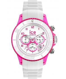 Montre Mixte Ice Watch Ice-Chrono Party CHWPKUS13 Bracelet Silicone Blanc