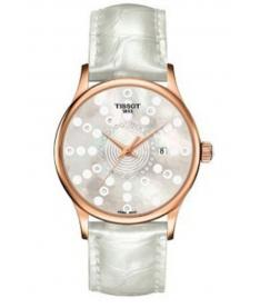 Montre Femme Tissot Rose Dream Quartz T9142107611601 Bracelet Cuir Blanc