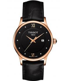 Montre Femme Tissot Rose Dream Quartz T9142107605600 Bracelet Cuir Noir