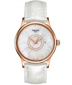 Montre Femme Tissot Rose Dream Quartz T9142104611600 Bracelet Cuir Blanc