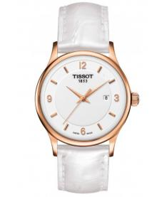 Montre Femme Tissot Rose Dream Quartz T9142104601700 Bracelet Cuir Blanc