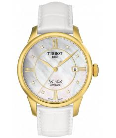 Montre Mixte Tissot Le Locle Diamants Automatique T41545386 Bracelet Cuir Blanc