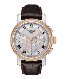 Montre Homme Tissot Bridgeport Chronographe Automatique T0974272603300 Bracelet Cuir Marron