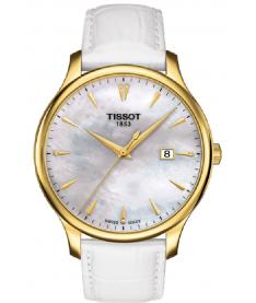 Montre Mixte Tissot Tradition Diamants T0636103611600 Bracelet Cuir Blanc