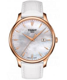 Montre Mixte Tissot Tradition Diamants T0636103611601 Bracelet Cuir Blanc