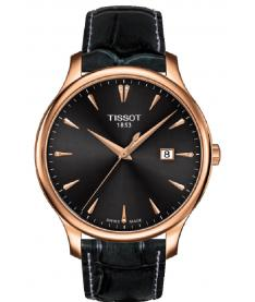 Montre Mixte Tissot Tradition Diamants T0636103608600 Bracelet Cuir Noir