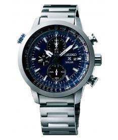 Montre Homme Seiko Sport Chronographe Solar SSC347P1 Bracelet Acier