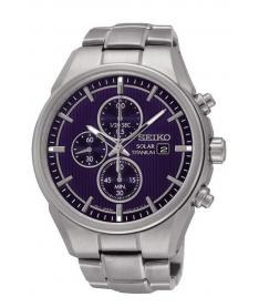 Montre Homme Seiko Sport Chronographe Solar SSC365P1 Bracelet Titane