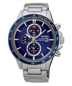 Montre Homme Seiko Sport Chronographe Solar SSC431P1 Bracelet Acier
