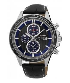 Montre Homme Seiko Sport Chronographe Solar SSC437P1 Bracelet Cuir