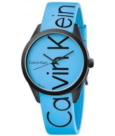 Montre Mixte Calvin Klein Color K5E51TVN Bracelet Silicone Bleu