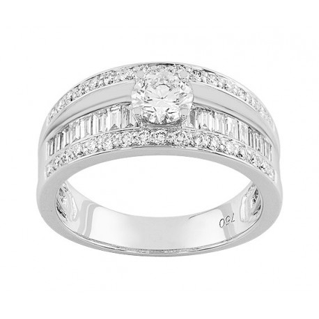 Bague Diamant centre 0,40 ct - Pavage 0,65 ct - TOTAL 1.050 Ct