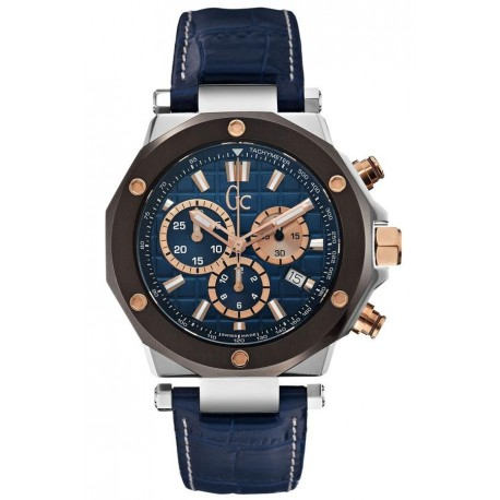 Montre Homme Guess Collection GC-3 X72025G7S Bracelet Cuir Bleu