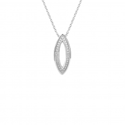 COLLIER ARGENT RHODIE DIAMANTS 0,01 CT