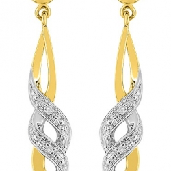 boucles d'oreilles diamants or jaune bicolore