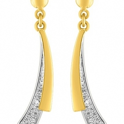 Boucles d'oreilles pendants courbes diamants 0,02 ct