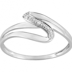 BAGUE OR BLANC 750/000 1 DIAMANT 0,01 OR GRIS
