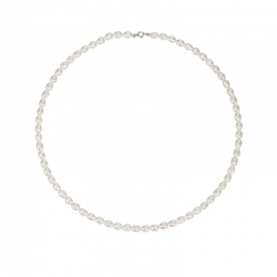 COLLIER RANG 42 CM PERLES EAU DOUCE BLANCHES 4/5 MM OR JAUNE 375