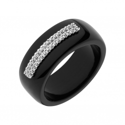 BAGUE CERAMIQUE NOIRE DIAMANTS 0,13 CT OR BL