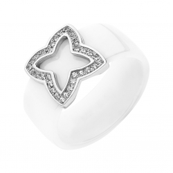 BAGUE CERAMIQUE BLANCHE ET DIAMANTS 0,15 CT OR BL