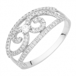 "BAGUE FANTAISIE FILS CROISES DIAMANTS 0,38 CT HP1 OR BLANC ""MISS FRANCE"""