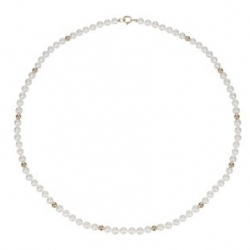 Collier RANG BOULES OR 45 CM PERLES EAU DOUCE BLANCHES 4.5/5 MM OR JAUNE 750