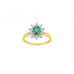Bague Emeraude et diamants 0,06 ct